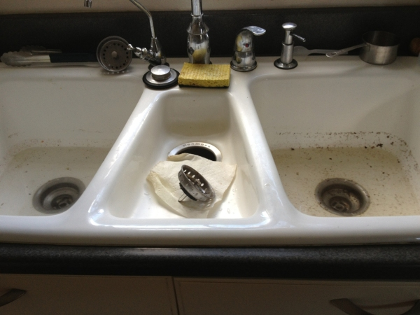 Clogged Plugged Residential Kitchen Sink
